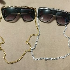 Sunglasses with chains on the frame